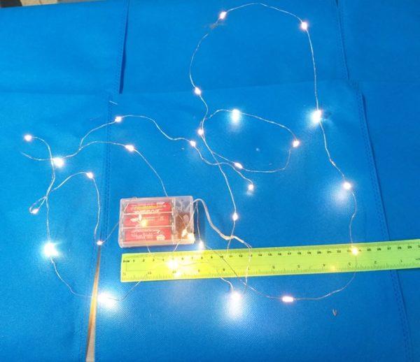 שרשרת לד | שרשרת אור לבלון | שרשרת אור לבן צהוב על סוללות כ3 מטר