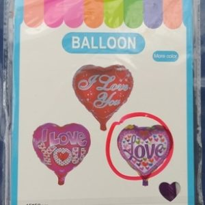 """בלון לב 18 אינצ' כ45 ס""""מ כיתוב LOVE (דגם 3)"""