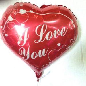 """בלון לב 18 אינצ' כ45 ס""""מ כיתוב I LOVE YOU"""