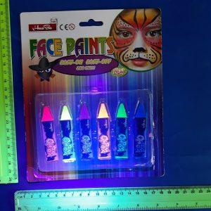 צבעי אולטרה סגול, צבעי פולמון, לגוף, 6 עפרונות זוהרים