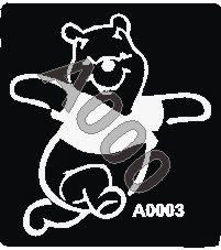 קעקוע פו הדוב | קעקועי נצנץ | שבלונה דגם 3