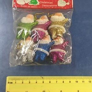 """קישוטי עץ חג המולד, סנטה לתליה, מארז 6 י""""ח קטן 4.5 ס""""מ"""