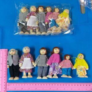 בובות משפחה בובות מעץ משפחה 6 בובות