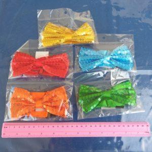עניבת פפיון בד עם נצנצים | עניבה פפיון למסיבות צבעוניות