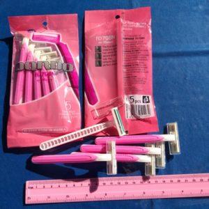 סכין גילוח | להב כפול מארז חמישייה ורוד