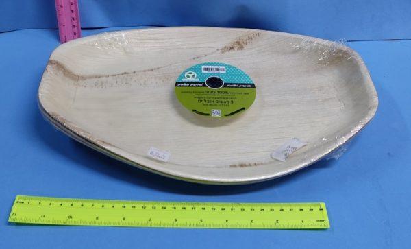 """כלים מתכלים   כלים מעלי דקל   מגש אובלי שלישייה גודל כ 30/25 ס""""מ"""