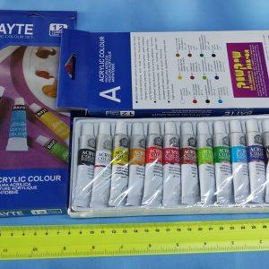 צבעים אקריליים בשפורפרת | צבעי אקריליק 12 מל | צבע אקרילי BAYTE
